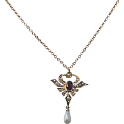 Antique 10k Amethyst Pearl Lavaliere Necklace Gold Edwardian  Valentine Gift