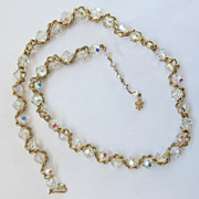 Vintage Vendome Twisted Goldtone Aurora Borealis Crystal Bead Necklace Intertwined 24 inches