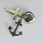 SALE Sterling Faith Hope Charity Love Charm Set Tiny Silver  Valentine Gift