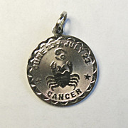 Sterling Silver Spencer Cancer Astrology Sign Charm Disco Strobe Design
