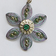 SALE Purple Blue Green Flower Necklace Pendant Sterling Chain Valentine Gift