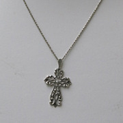 Sterling Silver Filigree Cross Necklace 925
