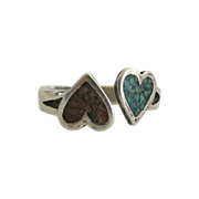 SALE Sterling Silver Inlaid Chip Heart Ring Yin Yang Size 6.5  Valentine Gift