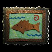 SALE Donchian Sterling Copper Fish Brooch 1989  Valentine Gift