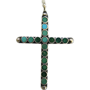 Sterling Silver Turquoise Dot Cross Necklace 20 inch Chain