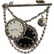 Vintage Techno Steampunk Style Pin Brooch Watch Face Charms 1980s Romance