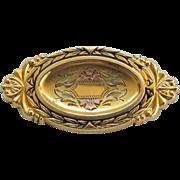 Hayward 12K GF Oval Brooch Pin Rose Gold Green Gold Yellow  Gold Filled