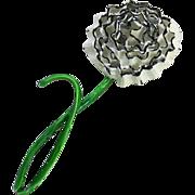 Vintage Enamel Flower Power 4.5 inch Carnation Chrysanthemum Figural Pin Brooch Dimensional