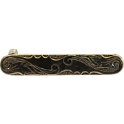 Art Nouveau Wave and Scroll Gold Filled Lingerie Pin circa 1930s Tiny