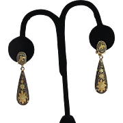 Vintage Damascene Drop Earrings Sunflowers Birds  Clip Style  2""