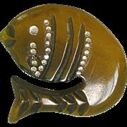 Early Plastic Rhinestone Figural Fish Pin Brooch Thermoset Angler Fishing
