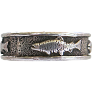 Sterling Fish Band Ring Size 9 Unisex Man Woman Angler 925