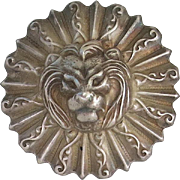 Vintage Aluminum Lion Face Dimensional Brooch Pin Leo