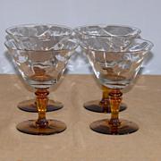 4 Tiffin 15071 Optic Champagne Sherbet Goblets Amber Stems
