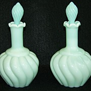 Pair of Fenton Green Pastel Swirl Perfume Bottles, No. 7005   ca. 1954-55