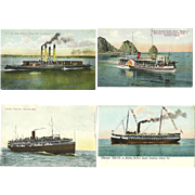 4 Vintage Steamer Ship Boat Postcards  Postally Unused Power Boat