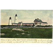 Bakers Island Lights Postcard Salem Harbor Mass Lighthouse