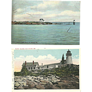 Maine Lighthouse Postcards Ram Island Light Burnt Island Antique Vintage
