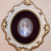 Framed Miniature Portrait Lady Holding Roses  Artist Signed