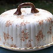 Ridgways Verona Pattern Transferware Covered Cheese Server Dish circa 1891