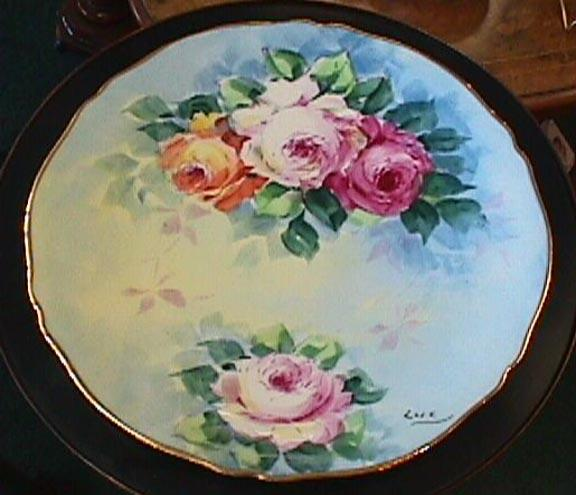 Hand Painted Limoges Plate - Lovely Roses & Gold #1