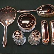 7 Piece Sterling, & Tortoise Shell Dresser Set - Cut Glass