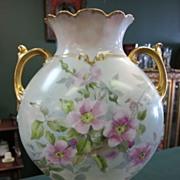 Limoges Handpainted Wild Rose Vase - Gold