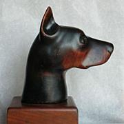 Doberman Pinscher Head Wood Carving