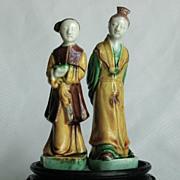 Chinese Porcelain Sancai Figures, Woman and Man