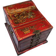 Early 20th Century Japanese jewelry box with foldout mirror