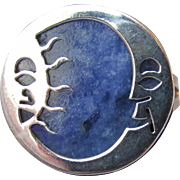 Vintage Mexico Sterling Silver Lapis Lazuli Sun & Moon Face Ring, Size 9