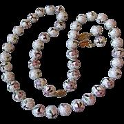 "Huge 14mm White & Mauve Cloisonne Enamel Bead 33"" Long Vintage Necklace & Dangle Earrings"