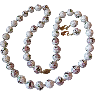 "Huge 14mm White & Mauve Cloisonne Enamel Bead 33"" Long Vintage Necklace & Dangle Earrings Set"