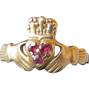 14k Gold & Ruby Irish Claddagh Vintage Ring, Size 6