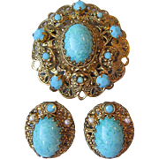 Vintage 1950's West Germany Imitation Turquoise Bohemian Glass & Faux Pearl Ornate Filigree Pi