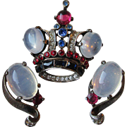 Vintage Trifari Sterling Silver Moonstone Rhinestone CROWN Pin & Earrings Set, 1940's Alfred .