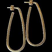"14k Yellow Gold 2"" Long Rectangular Looped Hoop Pierced Earrings"