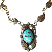 Vintage Navajo Signed Jerry Johnson Sterling Silver Turquoise Feather Necklace