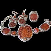 Spectacular SAJEN Sterling Silver, Leopard Fire Agate, Mexican Fire Opal & Carnelian Parure, .