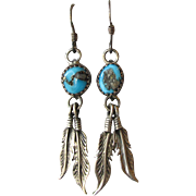 Vintage Native American Navajo Long Feather Sterling Silver & Turquoise Pierced Earrings