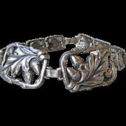 1940's Vintage Sterling Silver Oak Leaf & Acorn Square Panel Bracelet