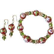 Artisan Upcycled Cloisonne & Olive Green Swarovski Crystal Stretch Bracelet & Earrings Set