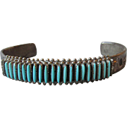 Vintage Native American ZUNI Sterling Silver & Turquoise Needlepoint Cuff Bracelet, Signed B.