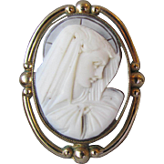 Vintage 1940's Gold-Filled Hard Stone VIRGIN MARY Cameo Pin or Pendant