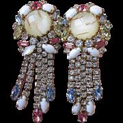 Ultra Glitzy MASSIVE Hobe Dangle Rhinestone & Venetian Art Glass Vintage 1960's Earrings
