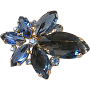 RARE Spectacular AUSTRIA Deeply Faceted Montana Blue Crystal Rhinestone Pin