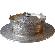 Antique Persian 875 Silver Covered Bowl & Underplate