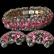 Vintage 1950's Signed La Rel Hot Pink & Olive Gray Green Rhinestone Bracelet & Earrings