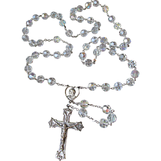 Magnificent 1950's Vintage BIG Sterling Silver & Aurora Borealis Austrian Crystal WALLACE Sterling Crucifix Rosary, Open Cut Work Heart Shaped Medal