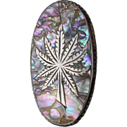 Big Vintage Mexico Sterling Silver & Abalone MARIJUANA Leaf Ring, Size 6